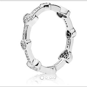 Heart Ring, clear CZ